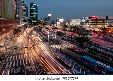 seoul, South Korea - June 5, 2017 :  Night view in front of Seoul Station