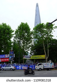 SEOUL, South Korea, June 9,2018, There are many banners of local election candidates for the Korean local election at Seokchon lake, near Lotte world tower, Seoul, Korea