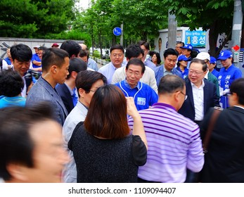 SEOUL, South Korea, June 9,2018, Thousands of people are participating in campaign rally of Park Won-soon who is the front-runner in the Seoul Mayor election at Seoul, Korea