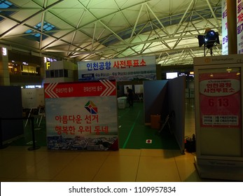 SEOUL, South Korea, June 9,2018, There is the pre-polling place in the International Airport for passengers and airport workers to vote the Korean local election.