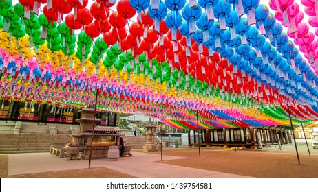 Seoul, South Korea - MAR 24, 2019:Colorful paper lanterns are strung up around Jogyesa Temple in honor of Buddha's Birthday.