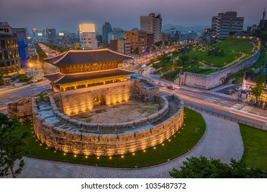SEOUL, SOUTH KOREA - MARCH 1: Night view at namdaemun gate seoul city korea, SEOUL, SOUTH KOREA.