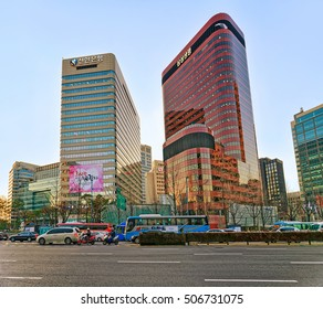 Seoul, South Korea - March 11, 2016: City life with skyscrapers  and car traffic in Jung district in Seoul, South Korea