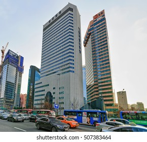 Seoul, South Korea - March 14, 2016: Car traffic and Skyscrapers in Jongno district of Seoul, South Korea