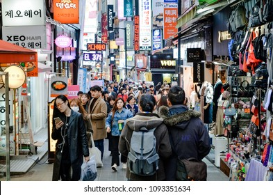 SEOUL, SOUTH KOREA, MARCH 18, 2018 : Travel image of lifestyle in Seoul city. The way of Korean people do in their life.
