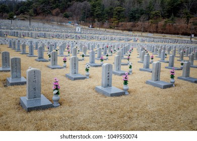 Seoul, South Korea - March 19, 2018 : Tombstones in Seoul National Cemetery