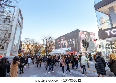 Seoul, South Korea - March 2, 2018 : Local shops - lined at Hongdae (Hongik University) shopping street. Hongdae is a shopping cultural street for young people in Seoul.