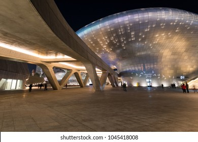 Seoul, South Korea - March, 2018: Night view of  Dongdaemun Design Plaza (DDP). Designed by Zaha Hadid.