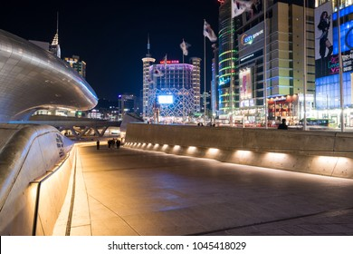 Seoul, South Korea - March, 2018: Night view of  Dongdaemun Design Plaza (DDP). Designed by Zaha Hadid.