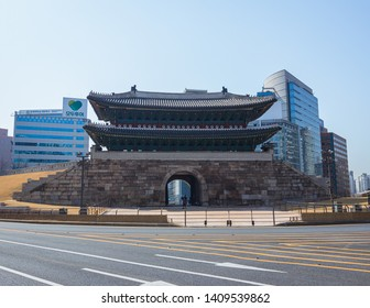 Seoul, South Korea - March 2018: Namdaemun gate, buildings background on a beautiful day.