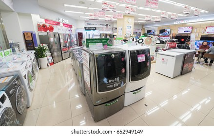 SEOUL, SOUTH KOREA - MARCH 26, 2017: LG washing machines, dryers, refrigerators and other home appliances in the Hyundai IPark Shopping Mall, the biggest shopping complex in South Korea.