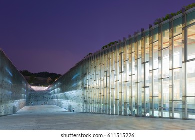 SEOUL, SOUTH KOREA - MARCH 28, 2017: Night shot of underground library of Ewha Womans University - Seoul, South Korea - March 28, 2017