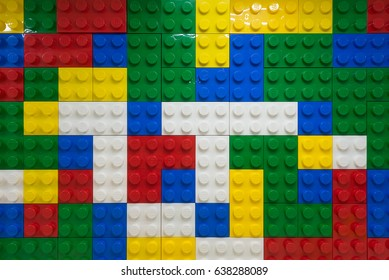 SEOUL, SOUTH KOREA - MARCH 29, 2017:  A wall of the reception made of Lego blocks at the HandsOn Campus, a Lego education center.
