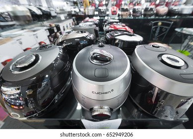 SEOUL, SOUTH KOREA - MARCH 29, 2017: Lots of multicookers and other kitchen appliances for sale at a store in the Hyundai IPark Shopping Mall.