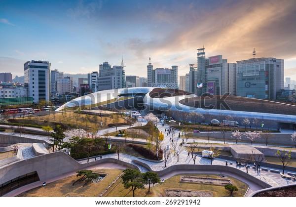SEOUL, SOUTH KOREA - MARCH 29,2015: Dongdaemun Design Plaza, New development in Seoul, designed by Zaha Hadid. Photo taken March 29, 2015 in Seoul, South Korea.