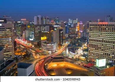 SEOUL, SOUTH KOREA - March 3, 2018 : Aerial skyline view of Korea,Namdaemun Market at night in Seoul, South korea.