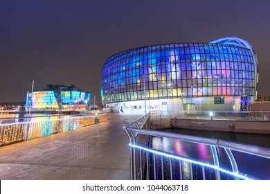 Seoul, South Korea - March 4, 2018 : Night view of Seoul Floating Islands, Three artificial islands known as Sebit Dungdungseom (Floating Island).