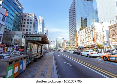 Seoul, South Korea - March 6, 2018 : Street scenery of between Hongdae and Hapjeong station