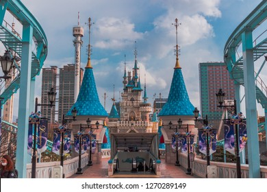 Seoul, South Korea - March 8, 2016:  Outside of Lotte World Adventure Theme Park at Seoul
