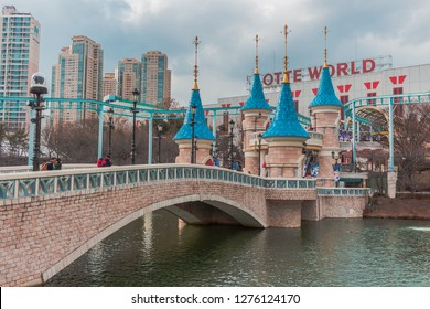 Seoul, South Korea - March 8, 2016:  Outside of Lotte World Adventure Theme Park Castle at Seoul