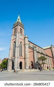 SEOUL, SOUTH KOREA - MAY 10 Myeong dong Catholic Cathedral on May 10, 2015 in Seoul, South Korea. Myeong dong Catholic Cathedral which is older than 110 years for center of Catholic in South Korea
