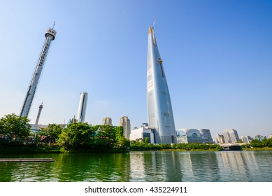 Seoul, South Korea - May 11, 2016 - Lotte World Tower is currently under construction in Seoul, South Korea and is due to open in October, 2016.