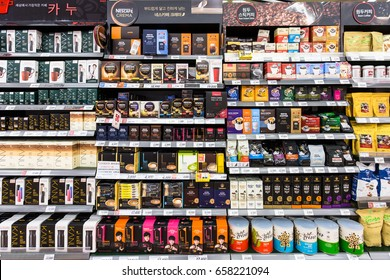 SEOUL, SOUTH KOREA - MAY 13, 2017: Instant coffee of various brands, such as Nescafe, are  displayed in a supermarket in Seoul in South Korea.