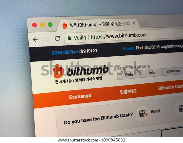 Seoul, South Korea - May 13, 2018: Website of Bithumb Exchange, a South Korean cryptocurrency exchange service.