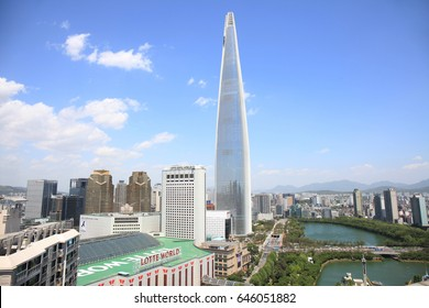 Seoul, South Korea - May 14, 2017: Songpa-gu, Lotte World Tower and cityscape with clear blue sky.