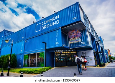 Seoul, South Korea - May 15, 2017: Common Ground store is built with 200 large shipping containers.