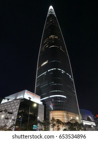 Seoul, South Korea - May 20, 2017: Lotte World Tower & Mall Beautiful night shot.