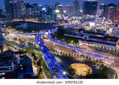 Seoul, South Korea - May, 2018: Seoul skyline and Seoullo 7017 sky park at night.