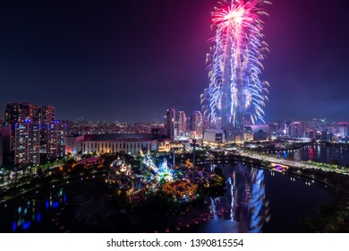 Seoul, South Korea - May, 2019: Lotte World Tower Fireworks Festival 2019