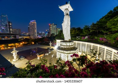 Seoul, South Korea - May, 2019: Nighttime view of Bongeunsa Temple in the spring with Azaleas flowers in Seoul city.