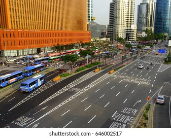 Seoul, South Korea, May 20,2017, Road and cars viewed from Seoullo 7017 which is the pedestrian road of the Seoul Station Overpass