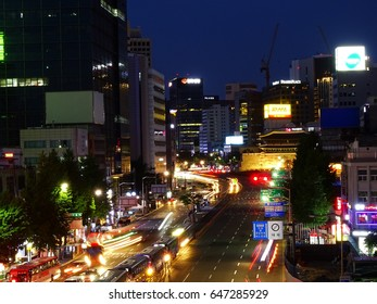 Seoul, South Korea, May 20,2017, Street around Seoul Station viewed from Seoullo 7017 which is the pedestrian road of the Seoul Station Overpass