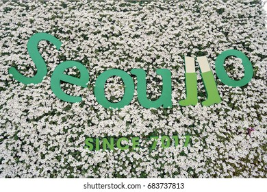 SEOUL, SOUTH KOREA -  MAY 21, 2017: Seoul 7017 Skypark sign. The Seoullo 7017 Skypark, is an elevated linear park in central Seoul  which opened on May 20, 2017.