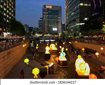 Seoul, South Korea - May 4, 2017: Night view of Cheonggyecheon Stream with light decorations and lanterns during the lotus lantern festival. Cheonggyecheon city landmark and downtown recreation place