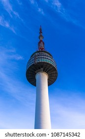SEOUL, SOUTH KOREA - MAY 5, 2018: The N Seoul Tower or Namsan Tower. A communication tower and popular weekend destination at the top of the Namsan Mountain in Seoul, South Korea.