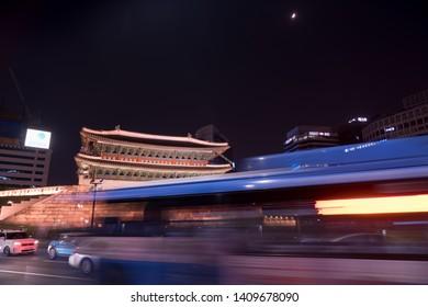 Seoul, South Korea - May, 5, 2019 : Namdaemun Gate Sungnyemun at night with city traffic, Seoul, South Korea