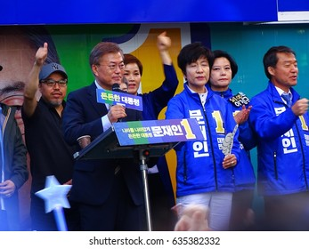 SEOUL, South Korea, May 6,2017, Thousands of people at Gangnam are participating in campaign rally of Moon Jae-in who is the front-runner in the Korean presidential election