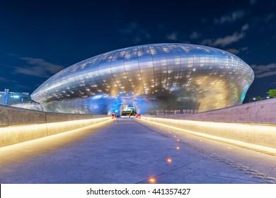 SEOUL, SOUTH KOREA - MAY04: Dongdaemun Design Plaza at Night Photo taken May04, 2016 in Seoul, South Korea