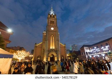 Seoul, South Korea: Myeongdong Catholic Cathedral  at night located near Myeongdong shopping street in Seoul, South Korea. Taken on December 18, 2016.
