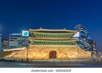 Seoul South Korea, Night city skyline at Namdaemun Gate (Sungnyemun)