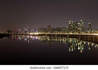 Seoul, South Korea at night from the Hangang river.