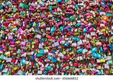 SEOUL SOUTH KOREA - NOV 03: Love locks on the Seoul N Tower, the activity that couples will padlock on the grille on November 03, 2016 in Seoul, South Korea