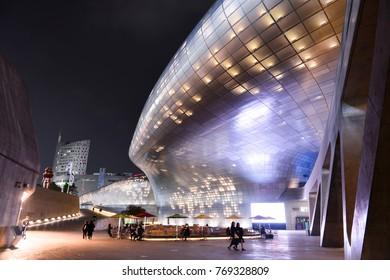 SEOUL, SOUTH KOREA - NOV 13, 2017: Dongdaemun Design Plaza (DDP)  is a major urban development landmark in Seoul, South Korea.