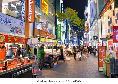 SEOUL, SOUTH KOREA - NOV 13, 2017: Myeong-dong is one of the busiest places in Seoul and is among Korea's premier shopping destinations.