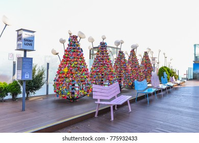 SEOUL, SOUTH KOREA - NOV 15, 2017 : Love padlocks at N Seoul Tower or Locks of love is a custom in some cultures which symbolize their love will be locked forever at Seoul Tower.
