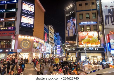 Seoul, South Korea - NOV 9: Myeong-Dong Neon Lights in Seoul, South Korea. The location is the premiere district for shopping in the city on November 9, 2014